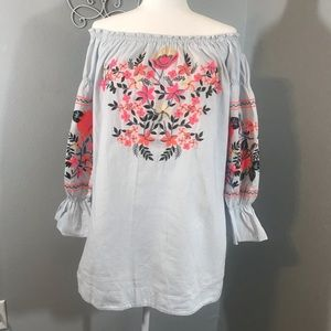 Free people linen embroidered tunic with pockets